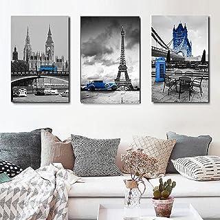 Blå bussduk Wall Art Cityscape Bild Canvastryck Heminredning Laminas Decorativas Pared 40x60cmx3 Ingen ram