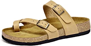 Honeystore Women's Belt Buckle Leather Slip-on Flats Sandals Shoes for Beach