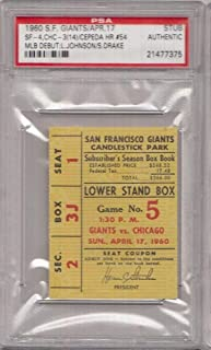 Sammy Drake Lou Johnson Cubs MLB Debut 1960 Slab Ticket Stub PSA 132071