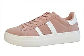 LUCKY-STEP Fashion Leather Women Sneakers - Platform Faux Suede Walking Shoes with Round Toe