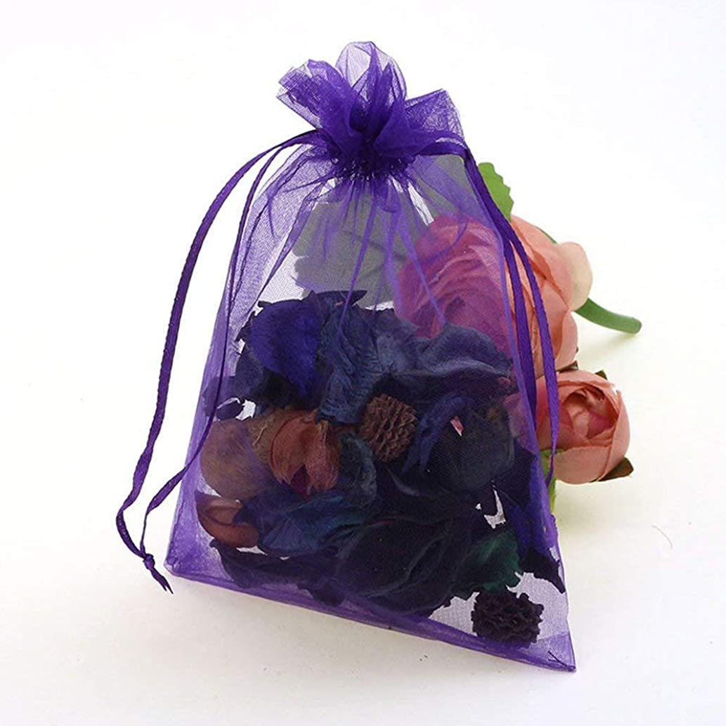 Kingcenton 100Pcs 3.54 x 4.73 Inches Sheer Organza Bags Drawstring Gift Bags Mesh Jewelry Pouches for Party Wedding Christmas Valentine Favors Organza (Purple)