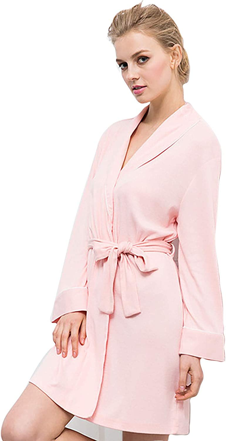 Bath Robes Womens Soft Knit Sleepwear Kimono Collar Long Lounge Wear Long Sleeve Sleepwear,for All Seasons Spa Hotel Pool Sleepwear SXL,L