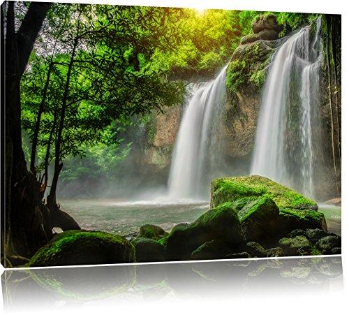 Pixxprint Wasserfall Format: 100x70 cm auf Leinwand, XXL riesige Bilder fertig gerahmt mit Keilrahmen, Kunstdruck auf Wandbild mit Rahmen, günstiger als Gemälde oder Ölbild, kein Poster oder Plakat