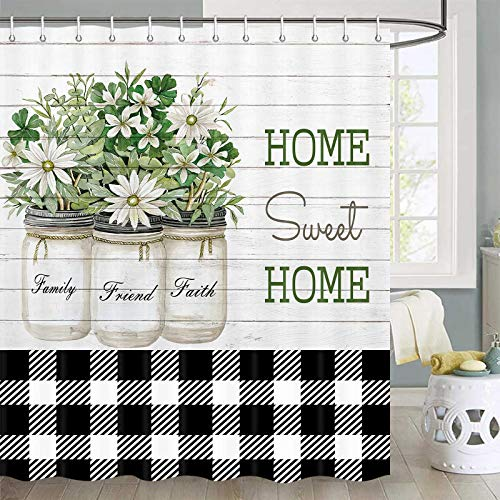 Farmhouse Shower Curtain, Rustic Flowers Leaves in Shabby Chic Flowerpot at Country Wooden Plank Shower Curtain Sets, Fabric Camper Shower Curtain Hooks Include, 70 in