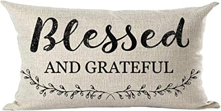 ramirar Black Word Art Quote Blessed and Grateful Grass Leaves Inspirational Decorative Lumbar Throw Pillow Cover Case Cushion Home Living Room Bed Sofa Car Cotton Linen Rectangular 12 x 20 Inches