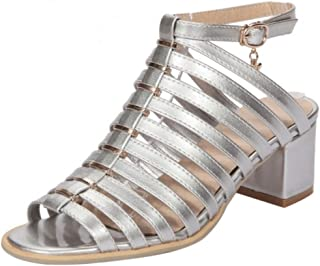 KemeKiss Women Strappy Peep Toe Gladiator Chunky Heel Ankle Strap Sandals