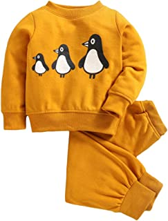 Hopscotch Peaches Girls Polyester Tracksuit with Penguin Print Sweatshirt in Yellow Color