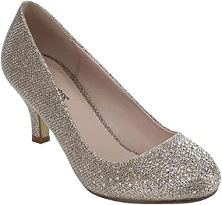 Bonnibel Wonda-1 Womens Round Toe Low Heel Glitter Dress...