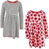 Touched by Nature Girls, Toddler, Baby and Womens Organic Cotton Short-Sleeve and Long-Sleeve Dresses, Poppy Long Sleeve, 2 Toddler