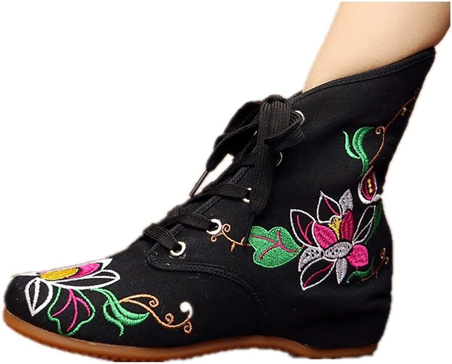 Tianrui Crown Women and Ladies The Lotus Embroidery Fall & Winter Ankle Boot shoes