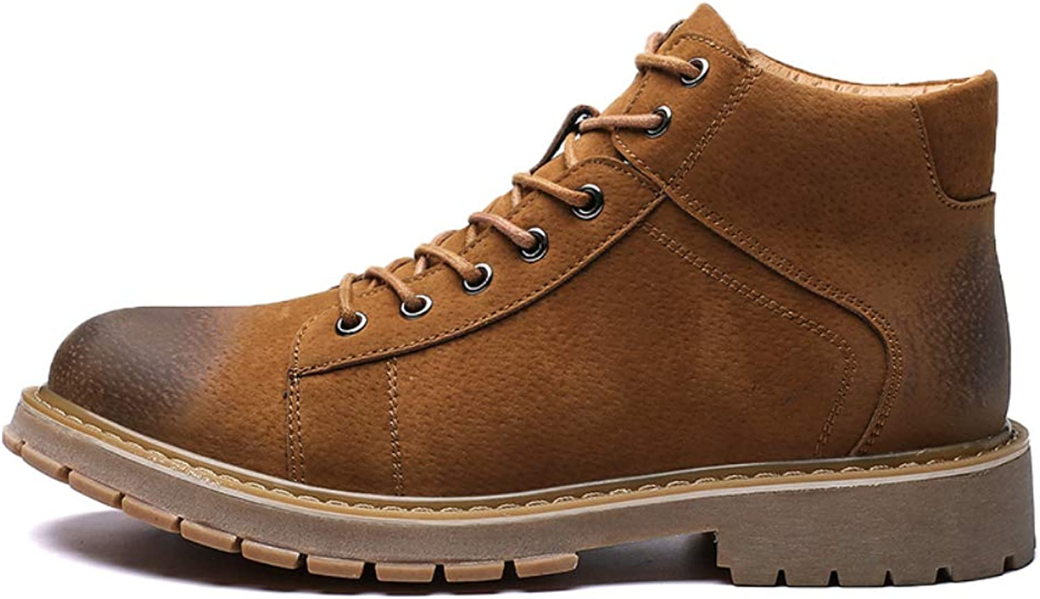 Men's Leather Waterproof Work Boots Rubber Outsole Safety Boots