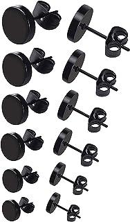 6 أزواج الأسود جولة أقراط مجموعة الفولاذ المقاوم للصدأ ترصيع الأذن للرجال النساء 3 مم-8 مم