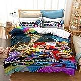 Yumhi Mario Kart Deluxe Bedding Duvet Cover Set Twin Size 2 Pieces 3D Bed Set Comforter Cover for Kids Boys, 1 Duvet Cover + 1 Pillowcase