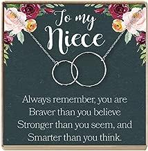 Niece Necklace: Niece Gift From Aunt, Niece Gift, Niece Charm, Niece Wedding Gift, Niece Confirmation, Niece Birthday, 2 Interlocking Circles (silver-plated-brass, NA)