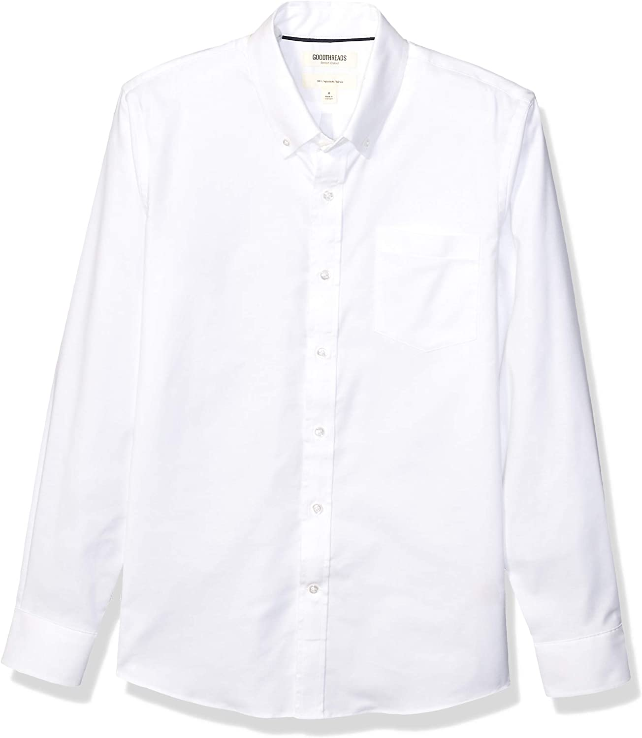Goodthreads Men's Slim-Fit Long-Sleeve Wrinkle Resistant Comfort Stretch Oxford Shirt with Easy Care