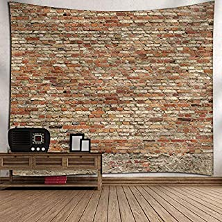 Msliy Red Brick Wall Stone Tapestry Polyester Fabric Brick Wall Theme Tapestry Hanging for Bedroom Living Room Dorm (red, 90x70inches)