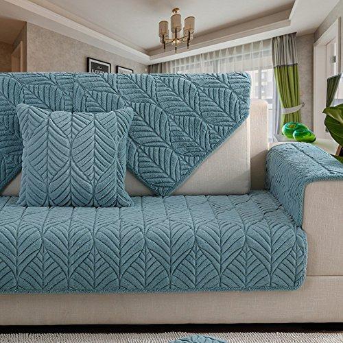 Jonist Funda de sofá de Terciopelo Grueso, Antideslizante, Color sólido, Funda para sofá, Varios tamaños, Protector Universal Simple y Moderno para Muebles, Azul de Invierno, 110x180cm (43x71inch)