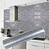 Knoijijuo Cocina de Alta Temperatura Fliesenaufkleber 60X300Cm Azulejos Aceite Creativo Adhesivo Resistente Piel de Naranja de Plata gabinete Resistente a la Humedad del Papel Pintado