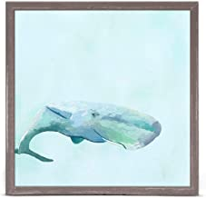 GreenBox Art + Culture Swimming Whale by Cathy Walters 6 x 6 Mini Framed Canvas, Rustic Natural