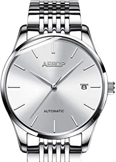 Aesop Fashion Men Date Analog Automatic Self Winding Mechanical Wrist Watch with Steel Band Silver White