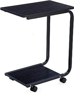 Edencomer ベッドサイドテーブル ノートパソコンスタンド 可移動デスク デスク キャスター付き ソファサイドテーブルナイトテーブル 寝室 インテリア 家具 ブラック
