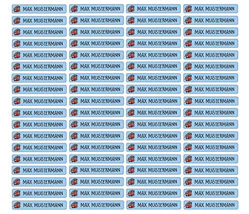Stifteaufkleber für Bleistifte, Kugelschreiber & weitere Namensaufkleber - Aufkleber 49x7,5mm | 72 Stück Kinder & Erwachsene Schule & Kindergarten 37 Hintergründe in Auswahl (01 Feuerwehr)