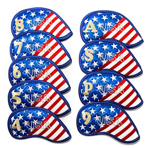 Golf Club Iron Cover Head Covers Headcovers Set Pack of 9pcs,American Flag Golf Club Protector Protective Red Blue White,Patriotic USA Flag,for Callaway,Taylormade,Titleist,Ping