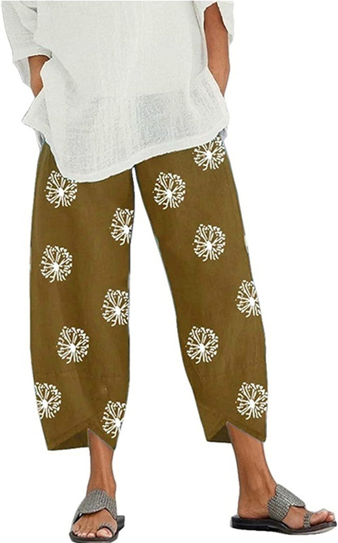 Xiakolaka Summer Capri Harem Pants for Women, Casual Beach Comfy Print Cropped Pants