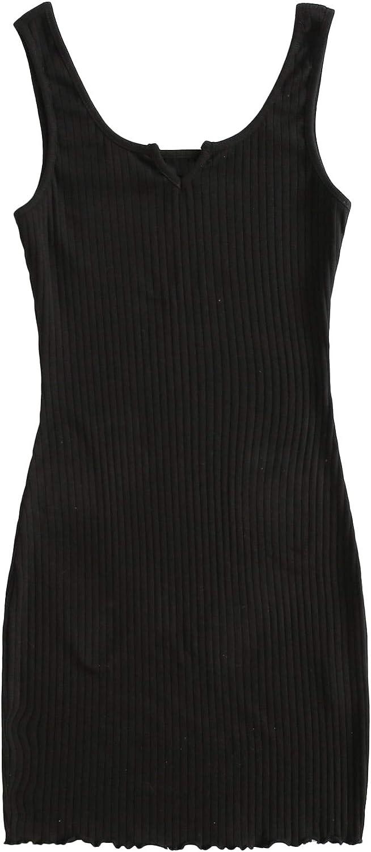 Milumia Women's Casual Bodycon Dress Sleeveless Ribbed Knit Solid Pencil Mini Dress