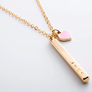 Free Shipping valentine's day Name Necklace Customized Your Name Bar with Pink Heart Necklace/ 16k Gold Plated/Wedding Christmas Birthday Dainty gifts