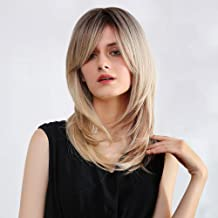 Ombre Blonde Wig with Bangs Synthetic Long Wavy Wigs Brown Roots Blonde Hair Layered Shoulder Length Hairstyle Fiber Highlight Multicolor Wigs for Women