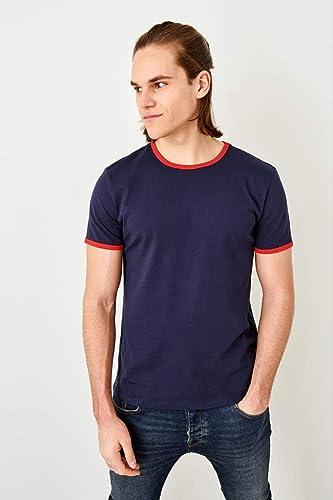 LFNANYI - Sweat en Coton Confortable à Manches Courtes - T-Shirt Homme Bleu