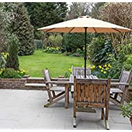 GlamHaus Garden Parasol Umbrella for Table, 2.7m, Crank Handle, UV 40+ Protection, Gardens and Patios - Robust Steel (Sand)