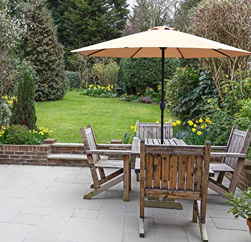 GlamHaus Garden Parasol Umbrella for Table, 2.7m, Crank Handle, UV 40+ Protection, Additional Parasol Protection Cover, Gardens and Patios - Robust Steel (Sand)