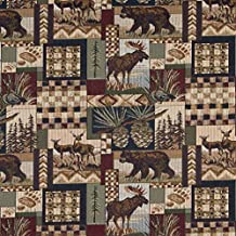 A014 Bears Deer Moose Acorns and Pine Trees Themed Tapestry Upholstery Fabric by The Yard