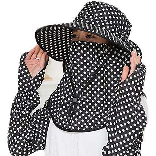 Guerbrilla Women Wide Brim Summer Sun Flap Cap Hat Neck Cover Face Mask UPF 50+ (4329-black)