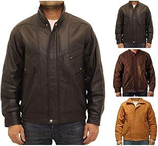 Mens Real Italian Black Classic Casual Retro Bomber Bluezone Leather Jacket