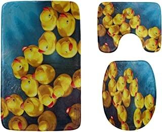 Lovely Yellow Rubber Duck Bathroom Rug Mats Set 3-Piece,Soft Shower Bath Rugs,Contour Mat and Toilet Seat Lid Cover Non-Sl...