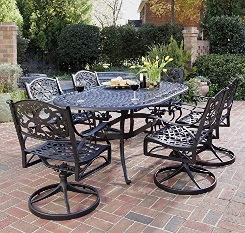 Hot Sale Home Styles 5554-335 Biscayne 7-Piece Outdoor Dining Set, Black Finish