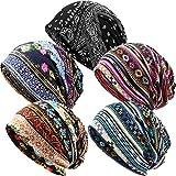 5 Pieces Women's Slouchy Beanie Hat Baggy Skull Sleep Cap Stretch Turban Headwear Head Wrap Cap Scarf, As Pictures Shown, 10.53 x 10.92 inch
