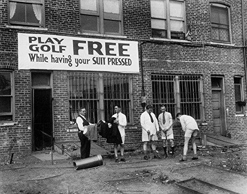 Free Golf 1930  Black and White Photo Print Poster  28 x 22