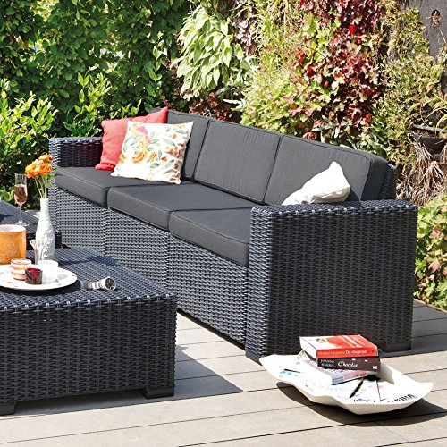 Transcontinental Group Allibert California Graphit grau 3-Sitzer Rattan Outdoor Garden Patio Sofa mit Kissen - 2