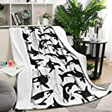 Unicorns Farting Black and White Orca Whales Summer Thick Blanket Sofa Warm Throw Blanket Flannel Fleece Blanket, 59 X 79 Inch