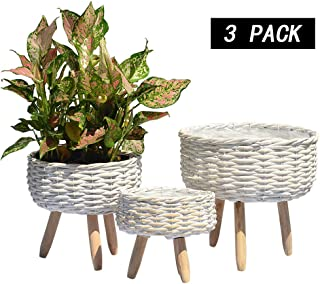 REVOLUMINI Wicker Plant Stand for Indoors,Unique Indoor Planter Stand Handmade with Natural Materials Modern Style Flower Pot Holder,Set of 3
