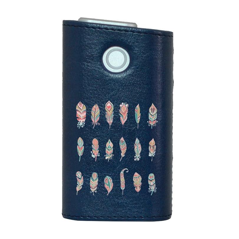 構成借りる強調するglo グロー グロウ 専用 レザーケース レザーカバー タバコ ケース カバー 合皮 ハードケース カバー 収納 デザイン 革 皮 BLUE ブルー 羽根 カラフル 010735