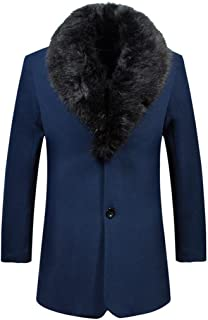 Men's Warm Single Breasted Wool Trench Coat Overcoat with Detachable Fur Collar