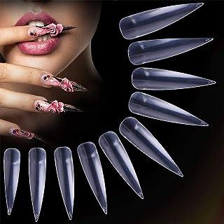 つけ爪 ネイルチップ ロング 薄い デザインクリア 付け爪練習用 ネイルアートキット 偽爪 500枚