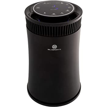 SilverOnyx Air Purifier for Home with True HEPA Filter, Air Quality Monitor, UVC Sanitizer, Cleaner for Allergies, Pets, Smokers, Mold, Pollen, Dust, Quiet Bedroom Odor Eliminator - 500 sq ft. Black