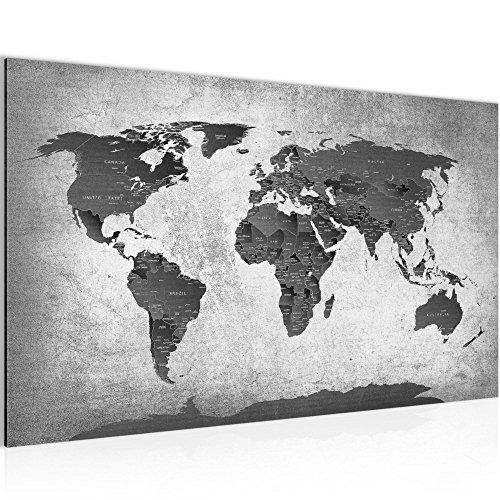 Bild Weltkarte World Map Wandbild Vlies - Leinwand Bilder XXL Format Wandbilder Wohnzimmer Wohnung Deko Kunstdrucke Grau 1 Teilig - MADE IN GERMANY - Fertig zum Aufhängen 107614c