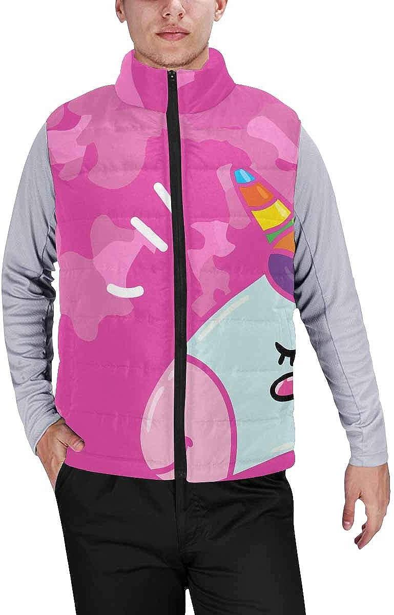 InterestPrint Men's Full-Zip Padded Vest Jacket for Outdoor Activities Cute Unicorns Pink Background L